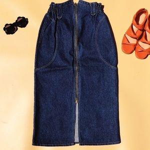 Vtg 80s High Waisted Denim Exposed Zipper Skirt SM